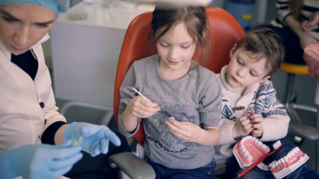 Dois filhos, sentado na cadeira do dentista antes do check-up odontológico. Irmão e irmã o molde com o jovem médico - vídeo