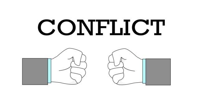 2つの握りこぶしがぶつかった。紛争、対立、抵抗、競争、闘争の概念。ビデオ。 - 拳 イラスト点の映像素材/bロール