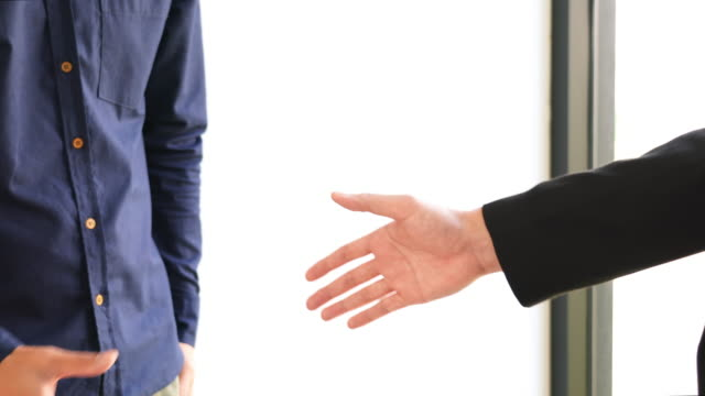 Two collaboration business handshake and business people after discussing good deal of contract and new projects