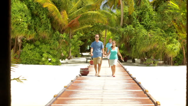 two couples walking on tropical pier two couples walking hand in hand towards camera on tropical pier jetty stock videos & royalty-free footage