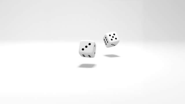 two dice rolling on white background
