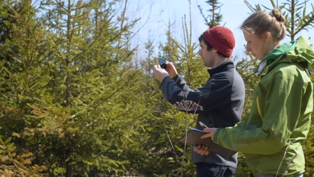 Two eco activists sooting fir-trees