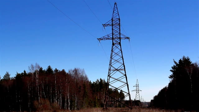 Two electricity power tower video
