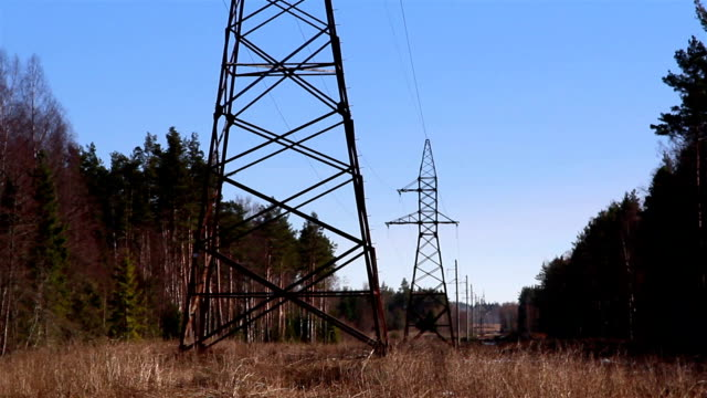 Two electricity tower in the forest video