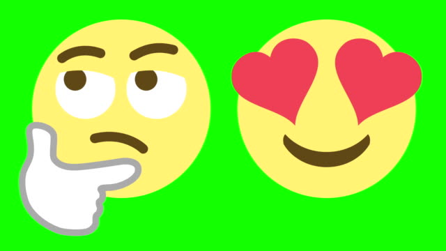 two emoticons for skeptical and love emotions - emoji video stock e b–roll