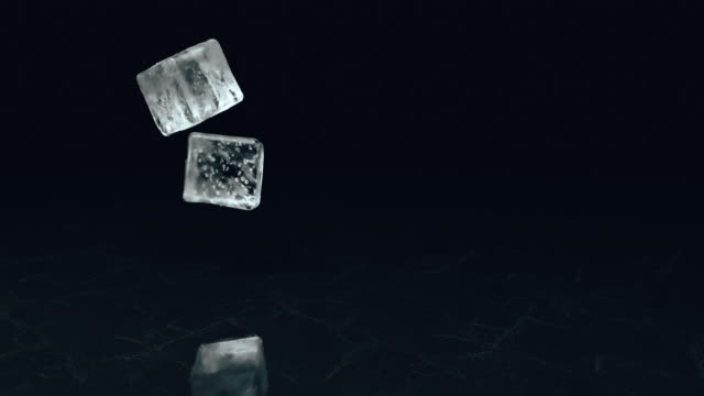 Two falling ice cubes on a textural surface in slow motion. 3d render