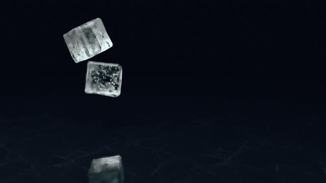 vídeos de stock, filmes e b-roll de dois cubos de gelo de queda em uma superfície textural no movimento lento. 3d rendem - gelo