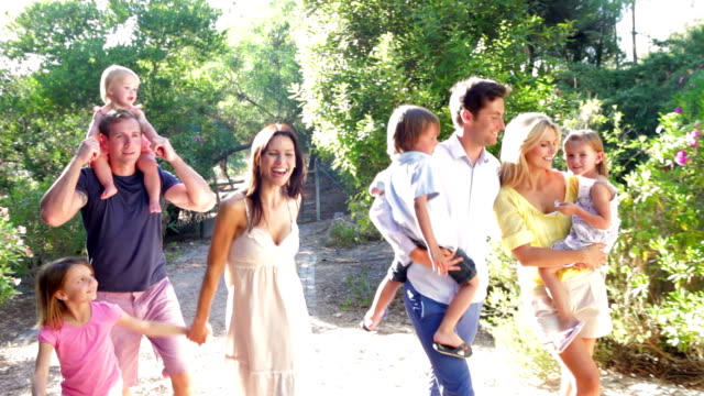 Two Families On Country Walk Together video
