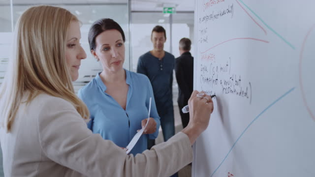 two female coworkers writing a diagram on the whiteboard - leanincollection stock videos & royalty-free footage