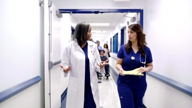 two female doctors discuss a patient as they walk in a hospital corridor - inserviente medico video stock e b–roll