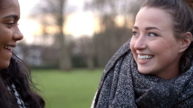 Two Female Friends Walking Through Park In Winter Two Female Friends Walking Through Park In Winter university student stock videos & royalty-free footage