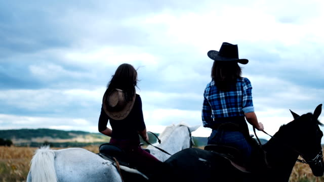 Two females riding horses forward 25 years old women are enjoying in the nature with their horses.  They love to spend time together and have fun cowgirl stock videos & royalty-free footage