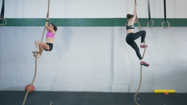 two fit women climbing the rope at the gym club. - inerpicarsi video stock e b–roll