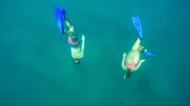 SLOW MOTION UNDERWATER: Two friends snorkeling in beautiful crystal clear ocean video