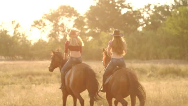 夕暮れ時、フィールドで馬に乗って 2 人の女の子。 - 動物に乗る点の映像素材/bロール
