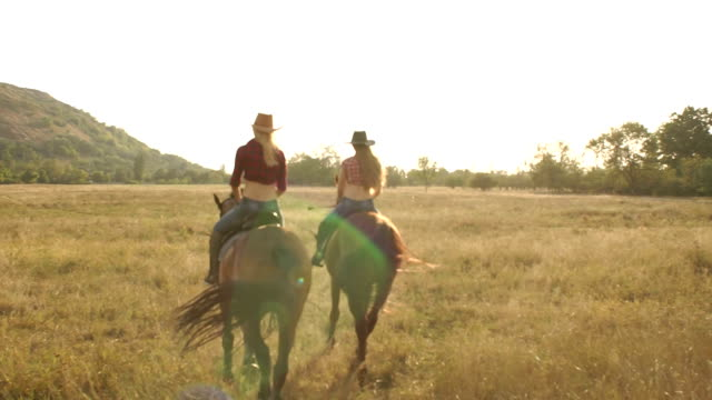 Two girls riding a horse in a field at sunset. video