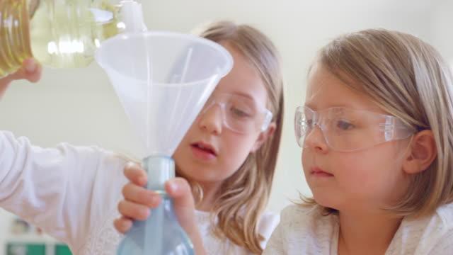 vidéos et rushes de deux filles utilisant des glaces protectrices faisant une expérience scientifique - entonnoir