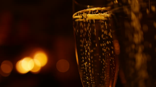 Two glasses with champagne video