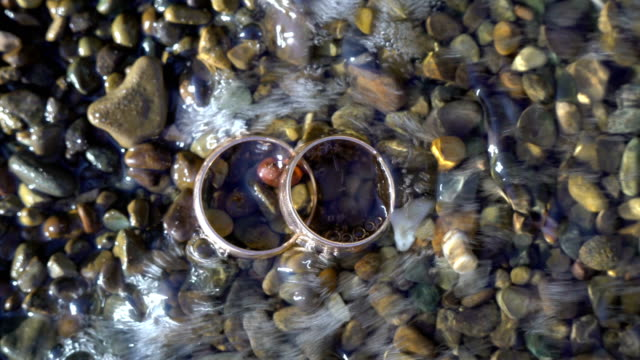 Two gold wedding rings lying on beach stones shining on sun light close up macro. Transfusion of light on rings. ocean wave washed on them Two gold wedding rings lying on beach stones shining on sun light close up macro. Transfusion of light on rings. ocean wave washed on them cisgender stock videos & royalty-free footage