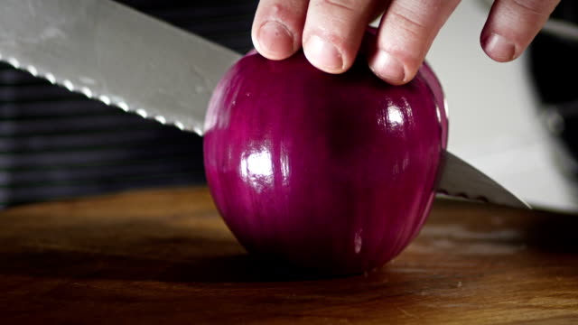 Two halfs of red onion video