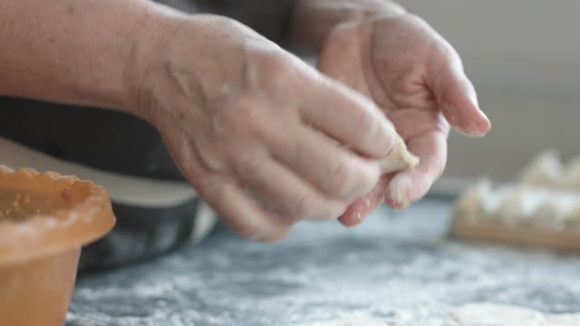 Two hands making meat dumplings. Side mid view of woman's hands making meat dumplings. ravioli stock videos & royalty-free footage