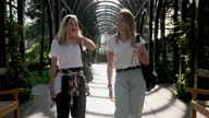 istock Two happy smiling talking girls teenagers students walking together 1279286930