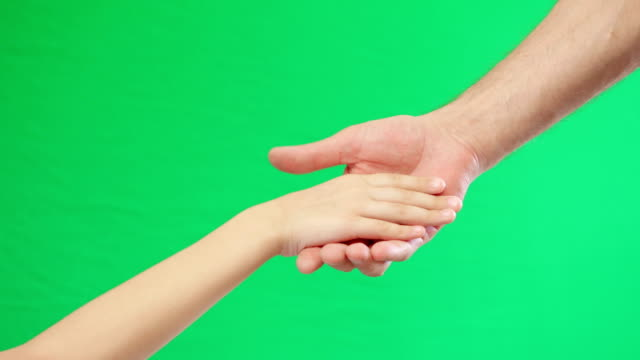 Two holding hands on green screen background. ビデオ