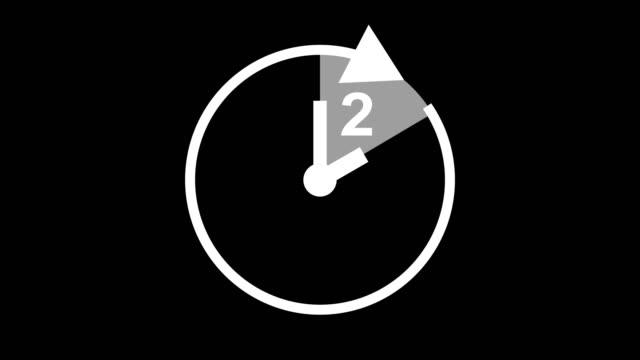 vídeos de stock, filmes e b-roll de relógio de ícone animado de duas horas, cronômetro com setas móveis animação simples. vídeo de estoque de símbolo de contador de tempo - um único objeto