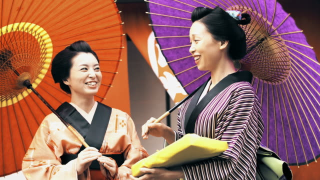 MS Two Japanese women in traditional clothes video