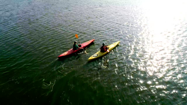 two kayaks are sailing along a scenic river. aerial view. slow motion. - пруд стоковые видео и кадры b-roll