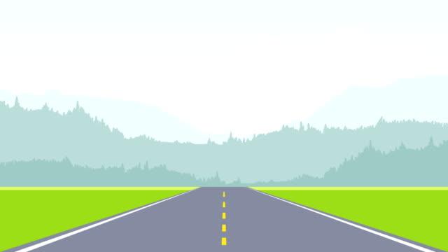Two Lane Asphalt Highway Road Animation