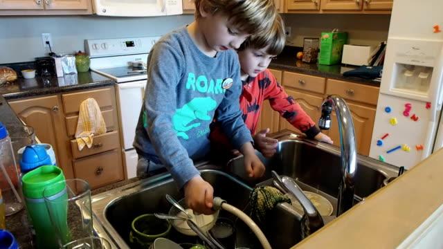 vídeos de stock, filmes e b-roll de dois garotos lavando pratos - afazeres domésticos