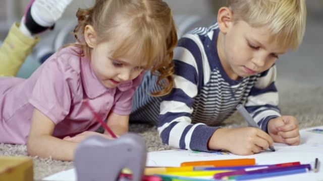 Two Little Children Drawing Picture video