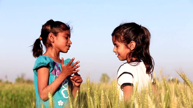 Two Little Girls Playing in the Wheat Field video
