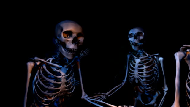 Two (2) loopable versions of Skeletons greeting you video