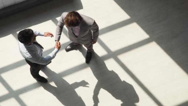 Two male business partner shaking each other hands