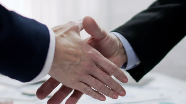 Two male business partners shaking hands, profitable agreement, co-operation
