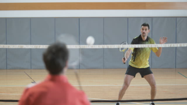 Two male friends playing indoor badminton video
