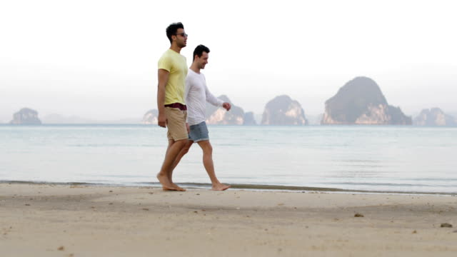 Two Man Walking Along Beach Talking, Gay Couple Communication Tourists On Sea Two Man Walking Along Beach Talking, Gay Couple Communication Tourists On Sea Slow Motion 60 gay man stock videos & royalty-free footage