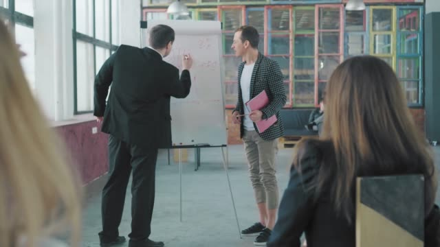 Two managers hold a presentation in the audience near the flipchart and discuss. Creative office interior. Co-working. Office team video