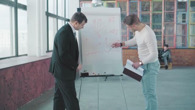 2人のマネージャーがフリップチャートの近くのオフィスルームでプレゼンテーションを行い、面白い図を描いて話し合います。クリエイティブなオフィスインテリア。コワーキングチーム。 ビデオ