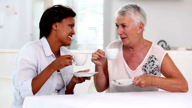 Two mature women gossiping during afternoon tea video