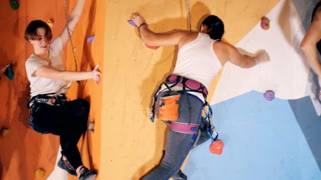 zwei männer und zwei frauen mitten im boulderprozess in einem fitnessstudio - bouldering stock-videos und b-roll-filmmaterial