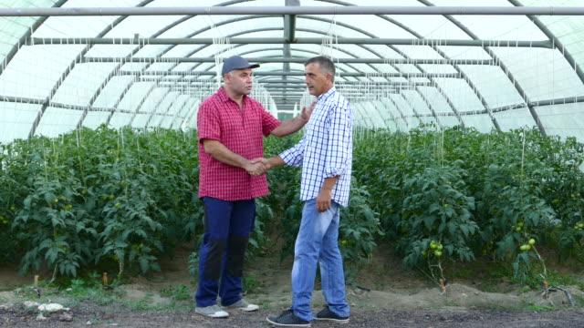 Two men in handshake in greenhouse video