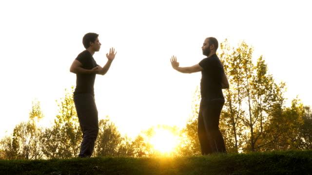 vídeos de stock, filmes e b-roll de dois homens no parque público que exercita as artes marciais - artes marciais
