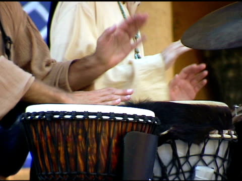Two men playing Gypsy Drums at outdoor Festival 1 video