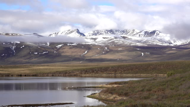 Two Moose Lake snowy Continental Divide Ogilive Mountains Tombstone Territorial Park Yukon video