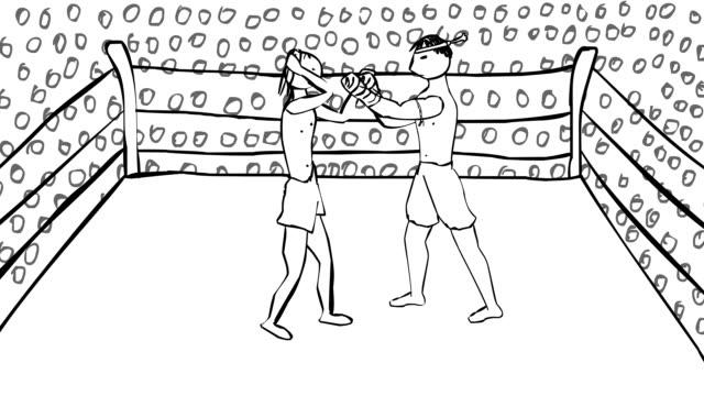 2 つの muai タイのボクサーのリング上の戦い漫画アニメーション - 拳 イラスト点の映像素材/bロール