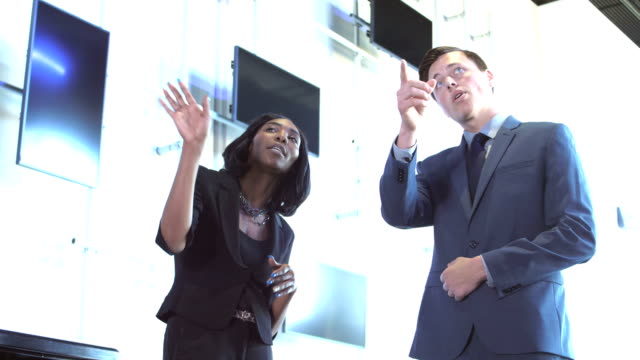 Two multi-ethnic business people conversing, pointing