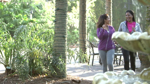 vídeos de stock, filmes e b-roll de poder de duas mulheres maduras multi-étnica andando, falando - amizade feminina
